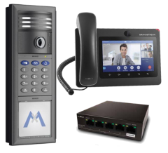 MOBOTIX IP T26 6MP VIDEO DOOR STATION WITH IP PHONE & GB DATA SWITCH - INCLUDES PROGRAMMING, DARK GRAY (NEW)