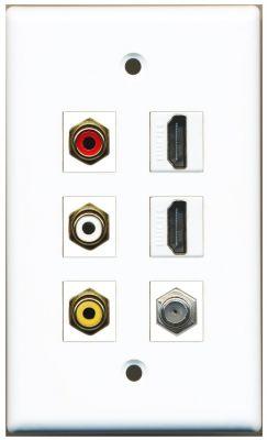 AV WALL PLATE (WHITE): 3 X RCA, 2 X HDMI AND 1 x COAX INSERT